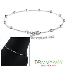 """Rolo Beaded Ankle Bracelet Anklet 925 Sterling Silver 9""""-11"""" Adjustable"""
