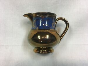 """RARE ANTIQUE COPPER LUSTER COBALT STYLIZED FLORAL BAND CREAMER PITCHER 4"""""""