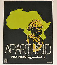 1977 Cuban SILKSCREEN Political Poster.Cold War art.APARTHEID.Africa Continent