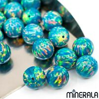 [WHOLESALE] TURQUOISE LAB CREATED SYNTHETIC OPAL FULL DRILL ROUND BEADS WP001BE