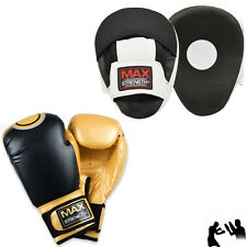 Boxing Focus Pads Set Mitts Punch Real Leather Thai Training Sparring Mma Ufc