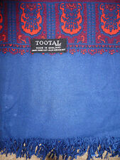 Tootal Reversible Fringed Scarf Paisley Blue & Red Plain Blue Ends Vtg tooa123 #