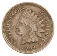 Raw 1864 Indian Head 1C Copper Nickel Uncertified US Small Cent Penny Coin