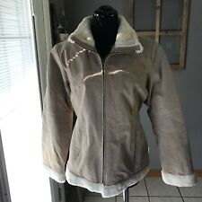 Weather Tamer Women's Stone Beige Faux Fur Suede Leather Zip Jacket Coat M Euc