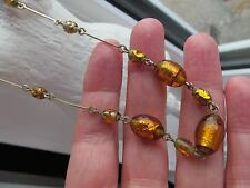 ART DECO GOLDEN SYRUP FOIL FOILED BEAD GLASS NECKLACE CIRCA 1920`S