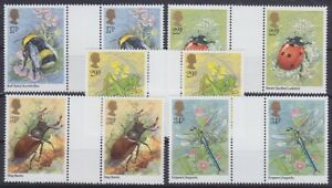 Insect Fauna United Kingdom Mi 1022 - 1026 Pairs With Zs, Mint, MNH