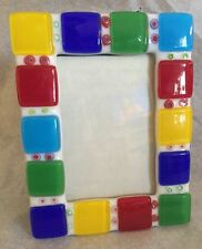 "Handcrafted Fused Glass Picture Frame Confetti 4"" X 5""  Holds  2.5 X 3.5"""
