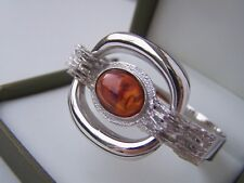 SUPERB MODERNIST SOLID STERLING SILVER BALTIC COGNAC AMBER BANGLE BRACELET 7""