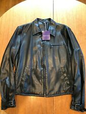 Beautiful NWT Ralph Lauren Purple Label Black Leather Biker Jacket Sz L $2495