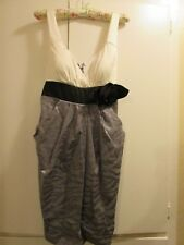 City Triangles Dress Size 9 White/Gray w/ black tie Side Pockets FORMAL SHORT CO