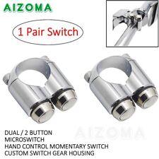 "Pair Motorcycle 7/8"" Handlebar Horn Turn Signal Light Hand Control Switch Chrome"