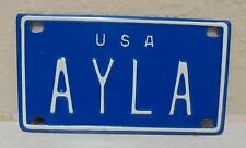 1960'S VINTAGE MINI USA AYLA LICENSE PLATE NAME TAG SIGN BICYCLE VANITY