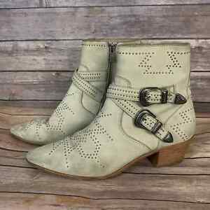 Frye Ellen Deco Buckle Short Boot In Ivory (Size: 8.5)