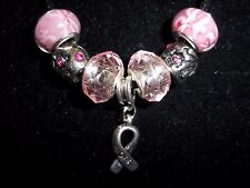 "PINK Handmade Tibetan Silver CANCER AWARENESS ""Hope"" Charm Crystal Necklace N-25"