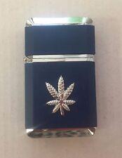 Windproof Refillable Marijuana Leaf Pattern Butane Jet Torch Blue Flame Lighter