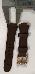 TechnoMarine Dark Brown Silicone Strap  with Gold Tone Buckle 14 MM NEW