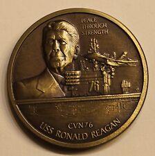 USS Ronald Reagan CVN-76 Peace Through Strength 40th Pres. Navy Challenge Coin