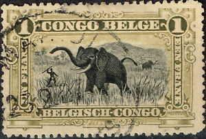 Belgian Congo colonial Fauna Elephant and Tribal Hunter 1915 stamp