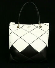 ROGER VIVIER $4,200 White & Black Leather PRISMICK Vertical Tote Bag