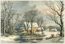 Currier & Ives Reproductions: Winter - The Old Grist Mill - Fine Art Print