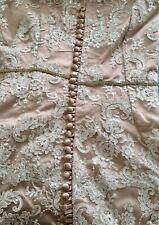 Winter Wedding Valentine blush long maxi dress lace silk UK size 8-10 modest