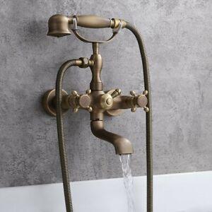 Antique Brass Wall Mount Bath Filler Faucet Shower Mixer Tap with Hand Shower