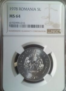 1978  5 Lei Romania.  NGC MS 64