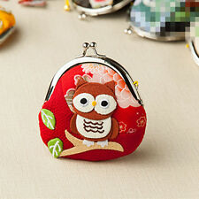 Japanese Silk Lucky Cat cute Owl Coin Change Wallet Purse Bag red wedding gift