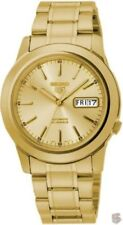 New Seiko 5 Automatic Mens Watch Gold Plated Skeleton Back SNKE56