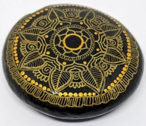 Unique Gift idea butter shine mandala painted stones black and gold- by Neetu