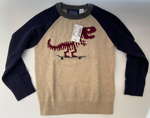 NWT The Childrens Place Boys Pullover Sweater Size 3T T-Rex 🦖 Skateboard 🛹