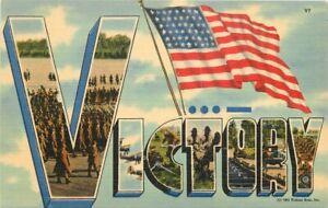 Large Letters Propaganda WW2 Patriotic Victory Tichnor Postcard linen 20-13613