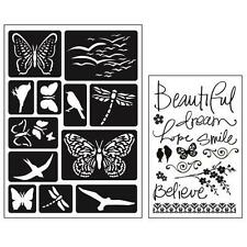 Momenta Art C Mixed Media Adhesive Stencil & Stamp Pack - Butterfly & Birds