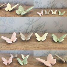 4 Pastel Porcelain Butterfly Ornaments ~ Table Decoration Home Gift 7BF102