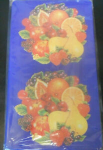 2 Piece Blue Fruit Medley Red Apple Grapes Rectangle Stove Top Gas Burner Covers