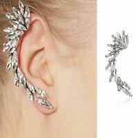1PC Fashion Women Crystal Wing Clip Ear Cuff Stud Punk Wrap Cartilage Earrings