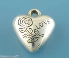50Pcs Silver Tone Valentine Love Heart Charms Pendants