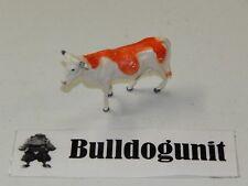 Plastic Cow Figure Farm Animal Figurine Orange White Toy