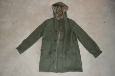 APC Military Green Button Up Hooded Trench Coat Jacket Womens 34 UK 6 Small