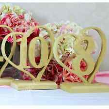 FREESTANDING Heart Wedding Table Numbers RAW 170mm High Wooden number mdf NEW
