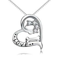 S925 Sterling Silver Animal Paw and Bone Love Heart Pendant with Box Chain 18