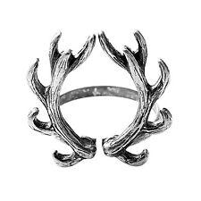 SENFAI Fashion Jewelry Antique Silver Color Deer Antler Finger Ring ,Opening for