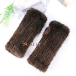 "20cm/8"" Real Mink Fur Knitted Fingerless Elastic Gloves Sleeves Wrist Mittens"