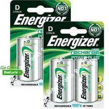 4 x Energizer D 2500 mAh Rechargeable Batteries LR20