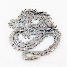 3D Cool Metal Silver Totem Dragon Sticker Car Emblem Badge Decal Size 35mmx42mm