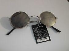 Lennon Silver Mirrored Silver Frames Sunglasses Round  Steampunk Hippy Glasses