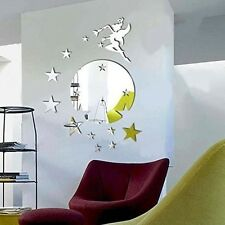 Walplus Mirror Wall Art Flying Fairy Tinker Bell With Stars Round Wall Stickers