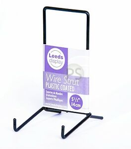 "Black Wire MEDIUM Display Stand 14cm, 5.5"" : Strut Plate Photo Frame Sign ST03BL"