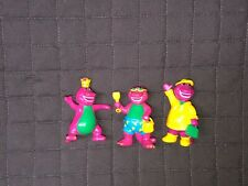 """VTG Barney And Friends Plastic PVC Figures Beach Raincoat Cake Toppers 2.5"""" 1993"""