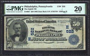 PA 1902 $50 DATE-BACK ♚♚PHILADELPHIA, PENNSYLVANIA ♚♚ PMG VF 20